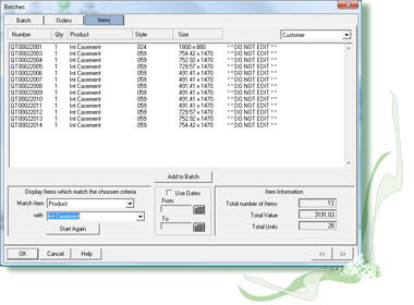 Window industry batching software for windows, doors and other batches.