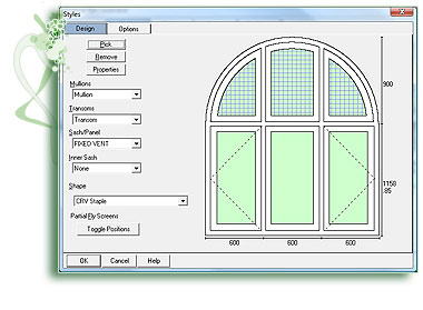 Curved & arched head windows in widnow industry production software Caliburn Fusion.